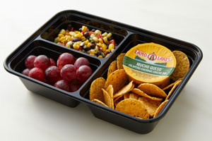 Bento Box with cheese dip cup, grapes, corn salad and tortilla chips