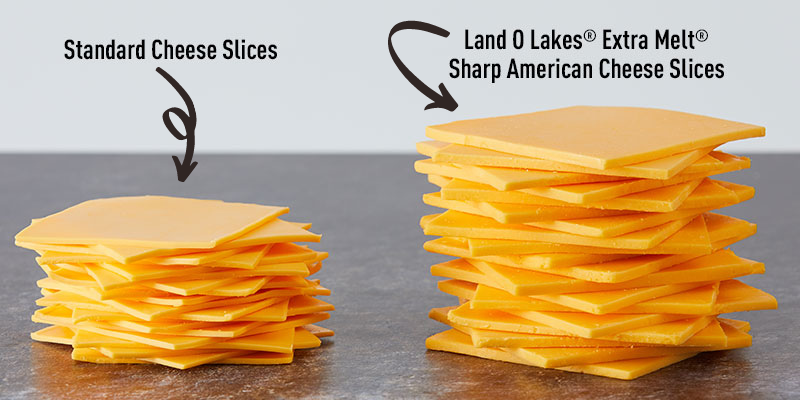 Land O Lakes ® Extra Melt® Sharp American Cheese Slices vs. stand cheese slices