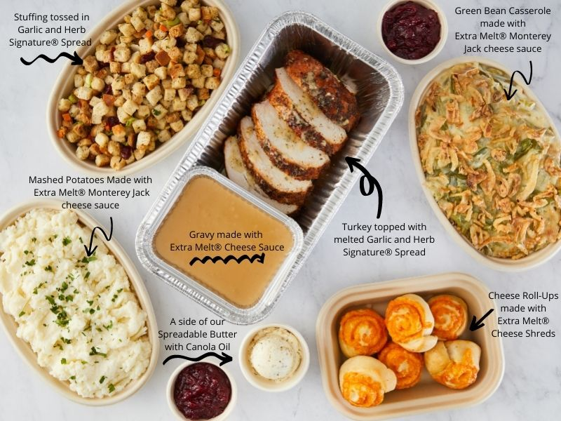 Thanksgiving Restaurant Meal Kit featuring various dishes made with Land O Lakes Products