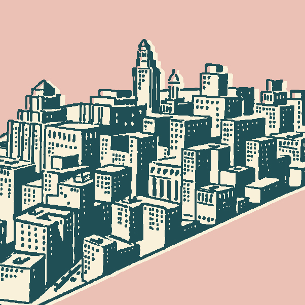 Cityscape Graphic With Pink Background