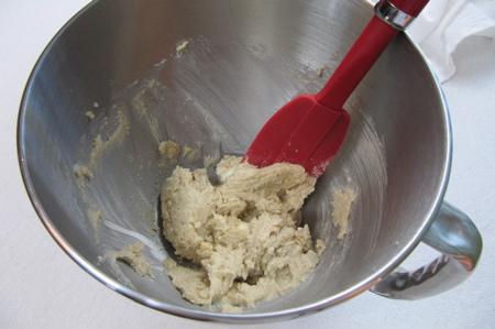 scraping butter sugar mixture