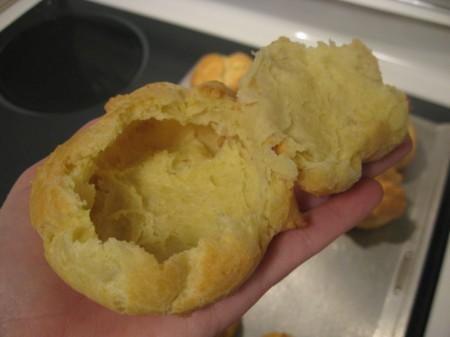 Remove top of cream puff