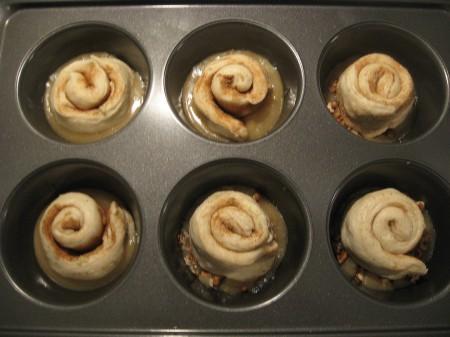 Press dough into caramel topping