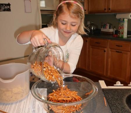 Add pretzels to bowl
