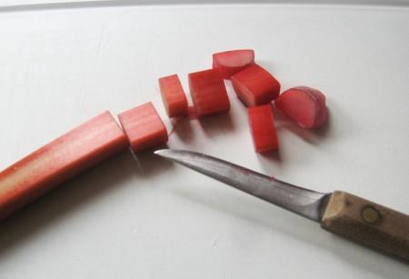 Slice the fresh rhubarb