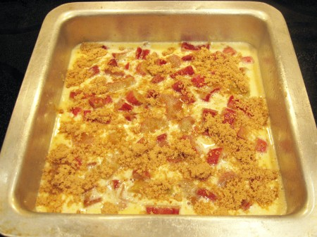 Pour rhubarb mixture over cookie crust