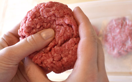 thumbprint in meat patty