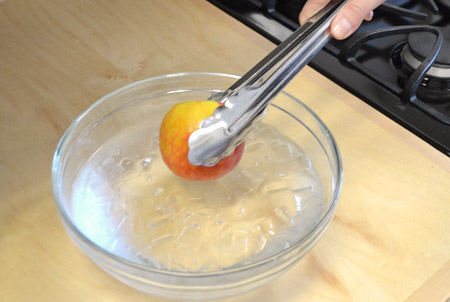 peach in ice water