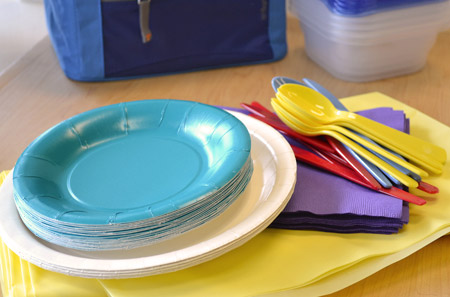 paper plates and utensils