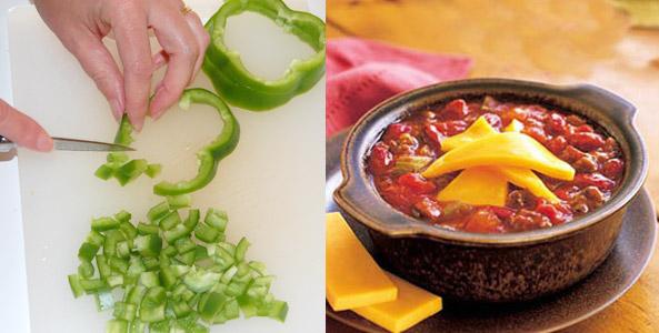 classic chili, chopping, green bell pepper,chili
