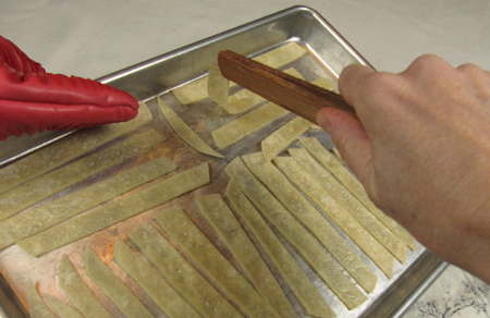 baking tortillas, turn, strips