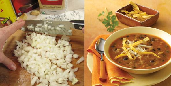 tortilla, soup, chopping onion
