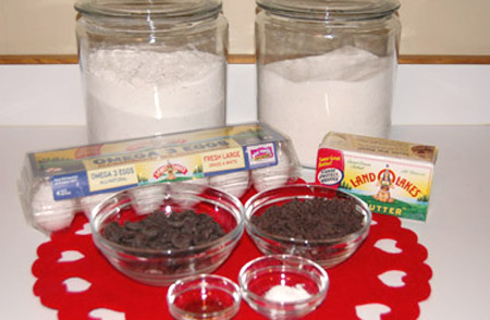 cookie ingredients, chocolate, butter, eggs