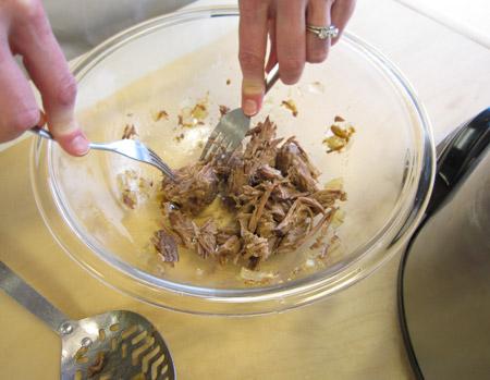 shredding meat, taco meat, forks
