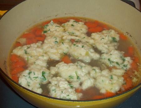 dumplings, chicken, soup