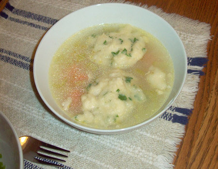 chicken dumpling, soup, bowl