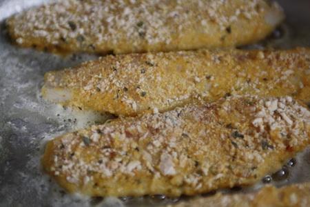 fish, butter, skillet