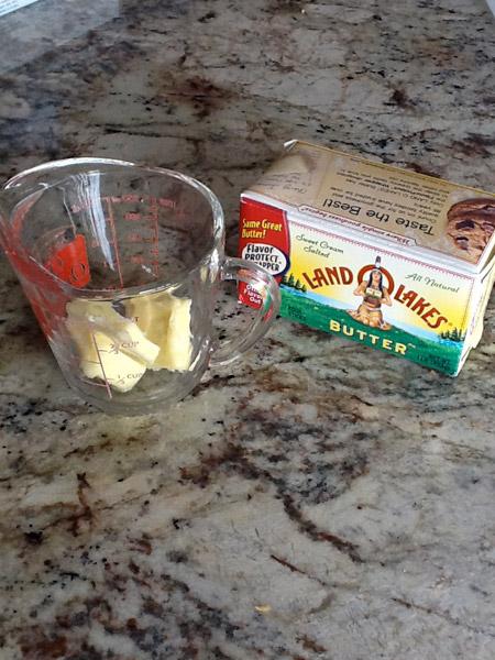 butter, measuring cup, melt