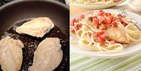 chicken, butter, frying pan