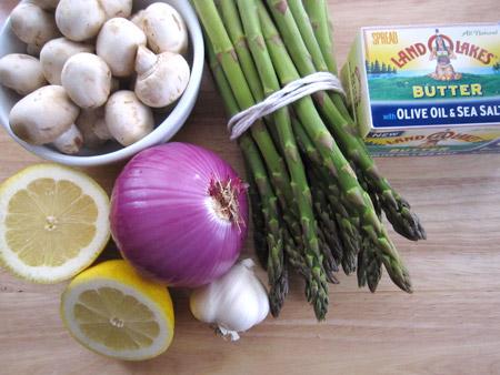 asparagus, mushrooms, butter