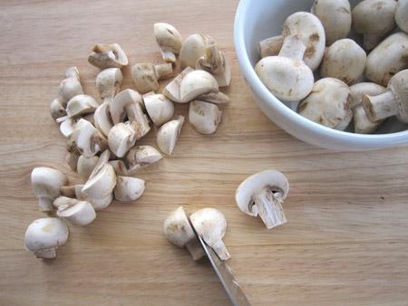 mushrooms, cut, half