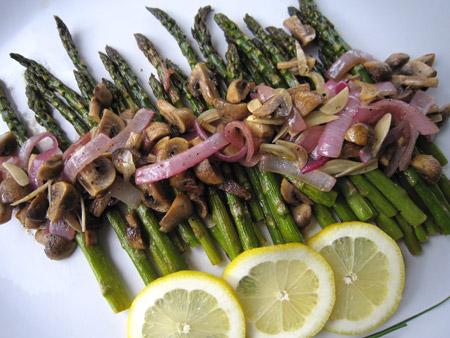 asparagus, platter, dinner