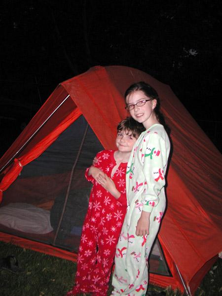 kids, camping, pajamas