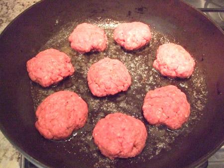 burger, skillet, cook