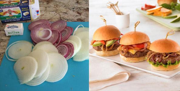 burgers, butter, onions