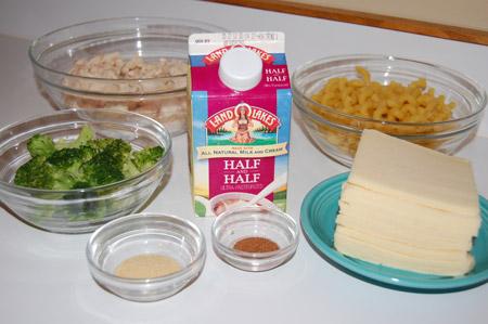 cheese, pasta, chicken