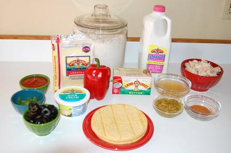 enchilada ingredients, chicken, red pepper
