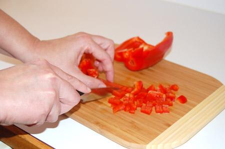 chop, red pepper, knife
