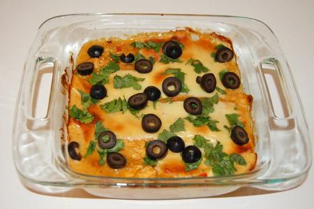 enchilada, casserole, cilantro