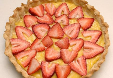 strawberries, filling, tart