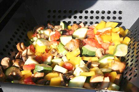 grilling, basket, vegetables