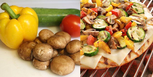 vegetables, pizza, grill