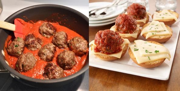 meatballs, marinara, pan, sliders