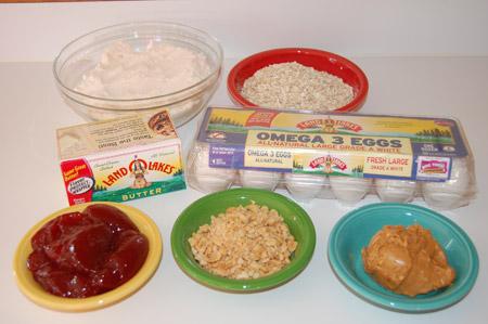 ingredients, bars, peanut butter