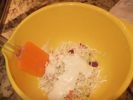 coleslaw, dressing, bowl