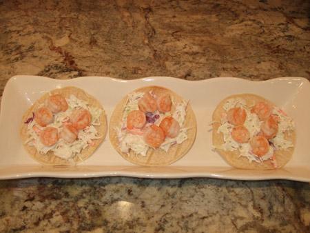 tostada, tortilla, shrimp