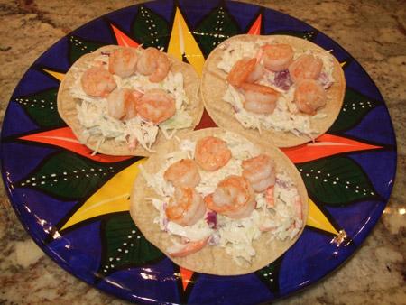 shrimp, tostada, plate