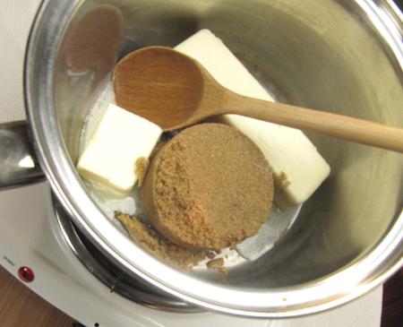 butter, brown sugar, caramel