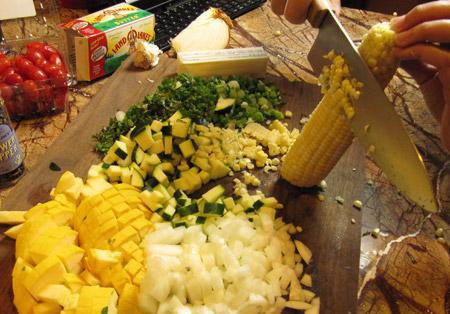 corn, kernels, trim