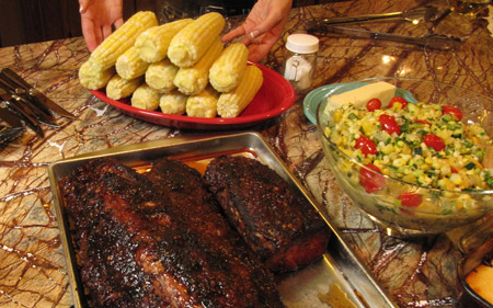 corn, ribs, dinner