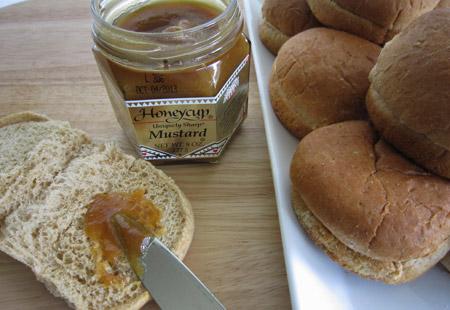 honey mustard, bun, slider