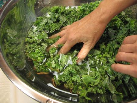 clean, wash, kale