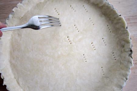 prick, fork, crust