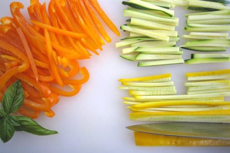 vegetables, zucchini, strips