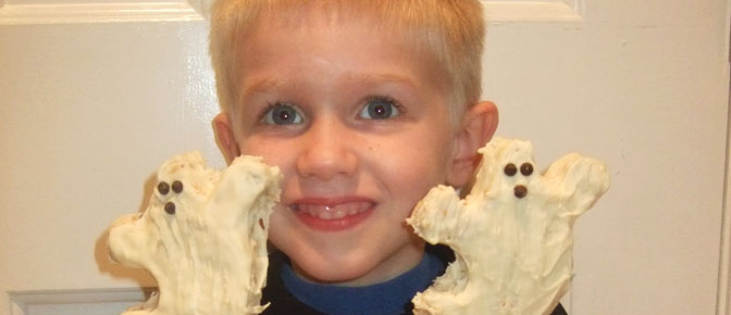 Kid with Ghost Treats