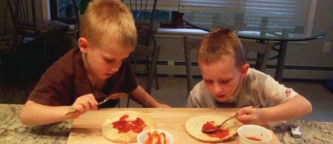 Boys Spreading Sauce